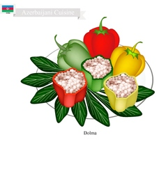 Dolma or Azerbaijani Stuffed Meat in Bell Peppers vector image