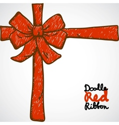 Doodle Red Ribbon vector image vector image