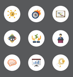 flat icons coin financing businessman and other vector image vector image