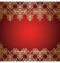 golden vintage ornament on red background vector image vector image