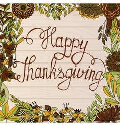 Happy Thanksgiving card on wooden background vector image vector image