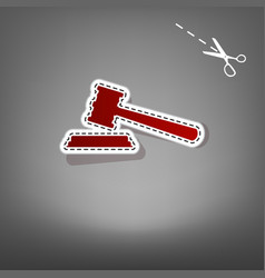 Justice hammer sign red icon with for vector