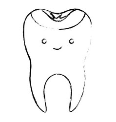 Kawaii restored tooth with root in monochrome vector