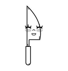 Line kawaii cute happy kitchen utensil vector