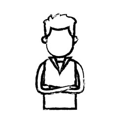Man wear vest crossed arms clothes sketch vector
