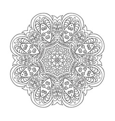 Mandala flower pattern doodle drawing round vector