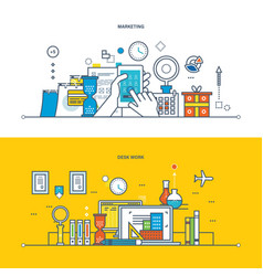 Marketing work workspace research planning vector