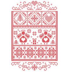 Scandinavian christmas card in cross stitch vector