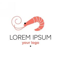 Shrimp logo template seafood restaurant sign vector