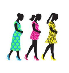 Silhouettes of pregnant woman vector image vector image