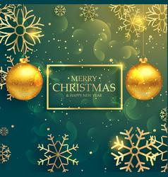 Stylish golden christmas balls on luxury style vector