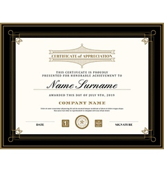 Vintage retro art deco frame certificate template vector image