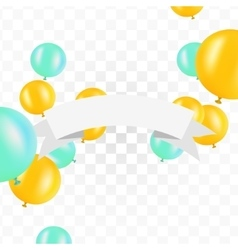 White ribbon with balloons on transparent vector