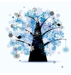 winter tree snowflakes vector image vector image