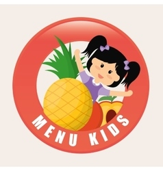 Girl fruits and kids menu concept vector