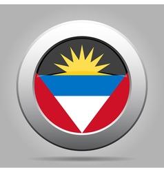 flag of Antigua and Barbuda shiny metallic button vector image