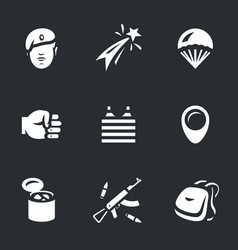 Set of russia airborne troops icons vector