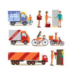 Flat icons set of food delivery people vector