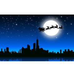 Santa sleigh in christmas night on city- vector