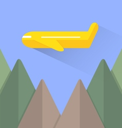 Airplane and mountain vector