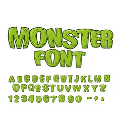Monster font green scary letters alphabet live abc vector
