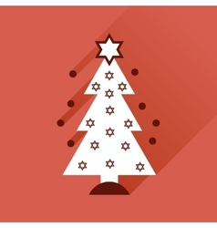 Flat icon with long shadow hanukkah tree vector