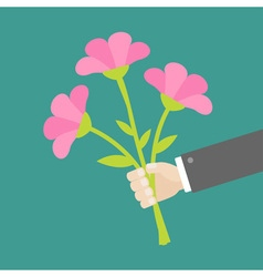 Hand holding bouquet of pink flowers Flat design vector image