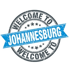 welcome to Johannesburg blue round vintage stamp vector image