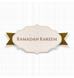 Ramadan kareem label with text and ribbon vector