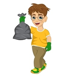 Cute teenager boy holding garbage bag vector