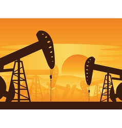 Oil pump at sunset7 vector