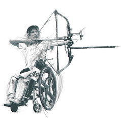 athletes with physical disabilities - archery vector image
