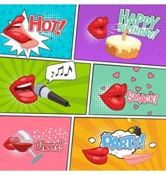 Cartoon lips comics page vector