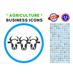 Cattle rounded icon with set vector