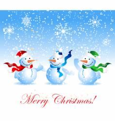 Christmas card snowman vector