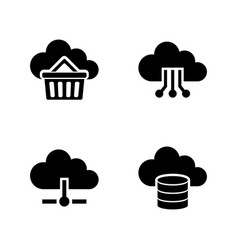 cloud storage simple related icons vector image