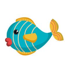 cute fish pet icon vector image