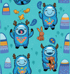 cute forest monsters seamless pattern in blue vector image vector image