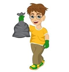 Cute teenager boy holding garbage bag vector