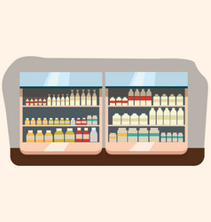 dairy department milk shelf with fresh healthy vector image
