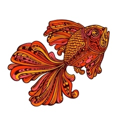 Ethnic ornamented golden fish vector