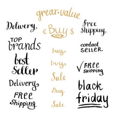 hand writing sales tag collection shopping vector image vector image