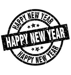 happy new year round grunge black stamp vector image