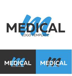 medical logo letter m logo logo template vector image vector image