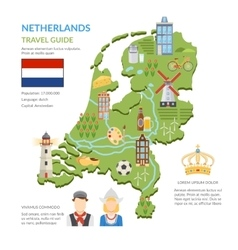 Netherlands map flat infographics vector