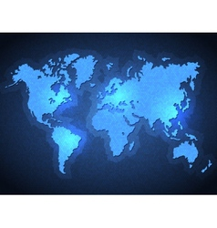 Pixel World Map with Spot Lights vector image vector image