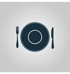 Plate dish with fork and knife vector image vector image
