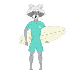 raccoon surfer with surfboard vector image vector image