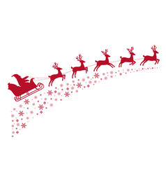 santa sleigh reindeer flying on background vector image vector image