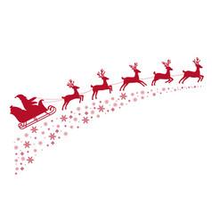 Santa sleigh reindeer flying on background vector